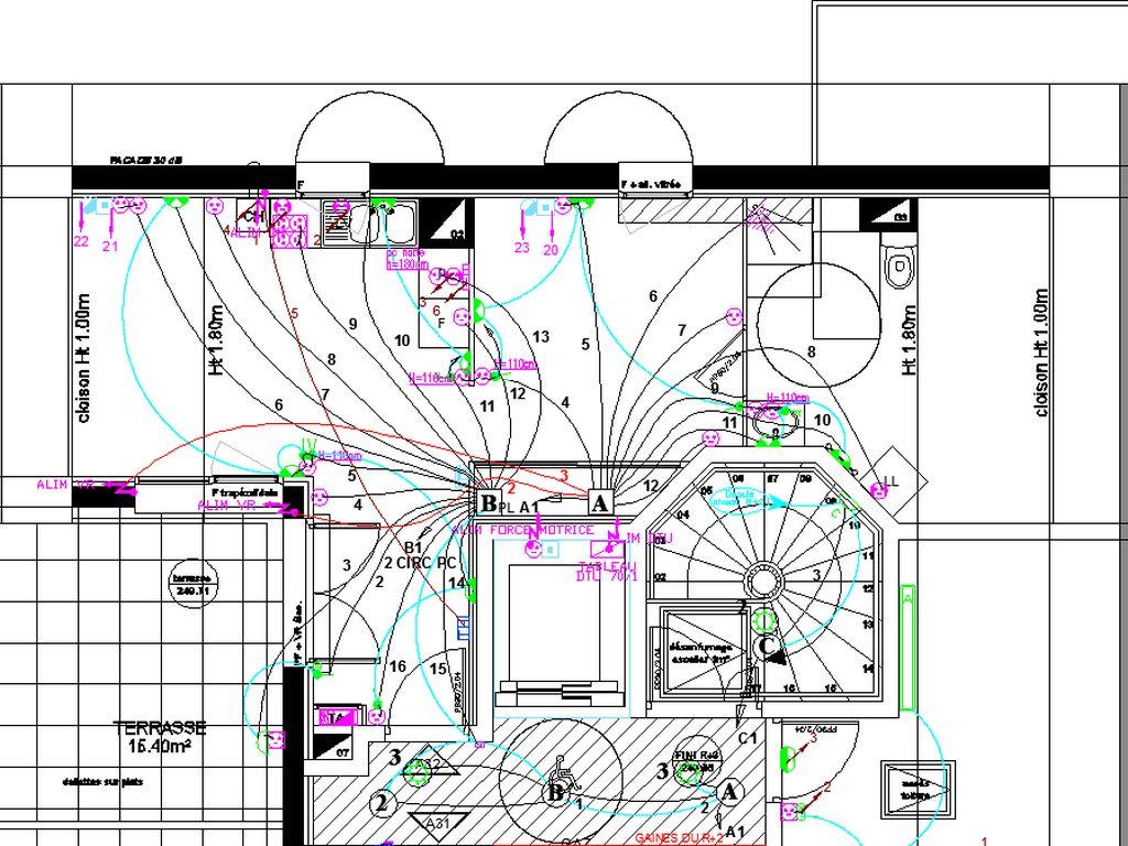 Plan des pieuvres des appartaments en DALLE BASSE  en boite pavillonaires en mur beton