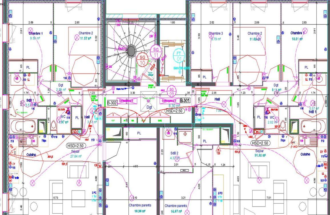 Plans d'implantations électriques des logements pour les COMBLES
