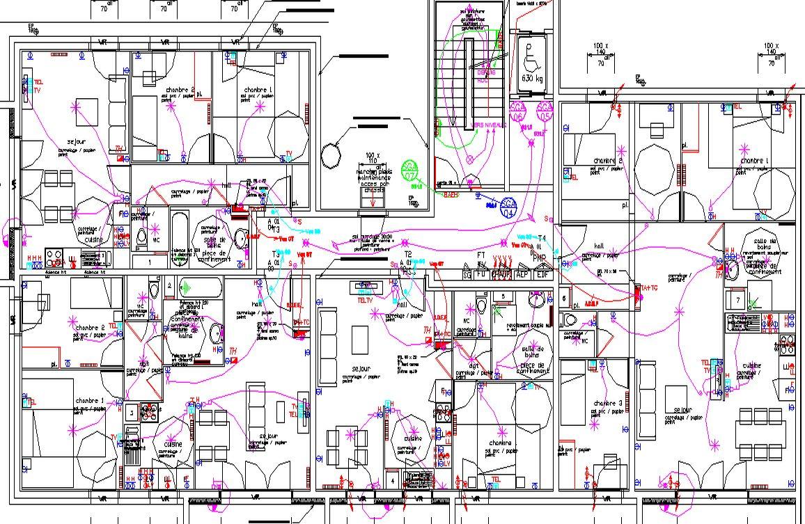 Plans d'implantations électriques des logements pour le R+1