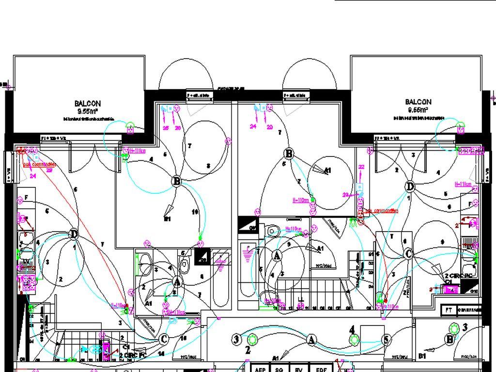 Plan des pieuvres des appartaments en duplex (en remonter) du niveau R+1 en DALLE PLEINE