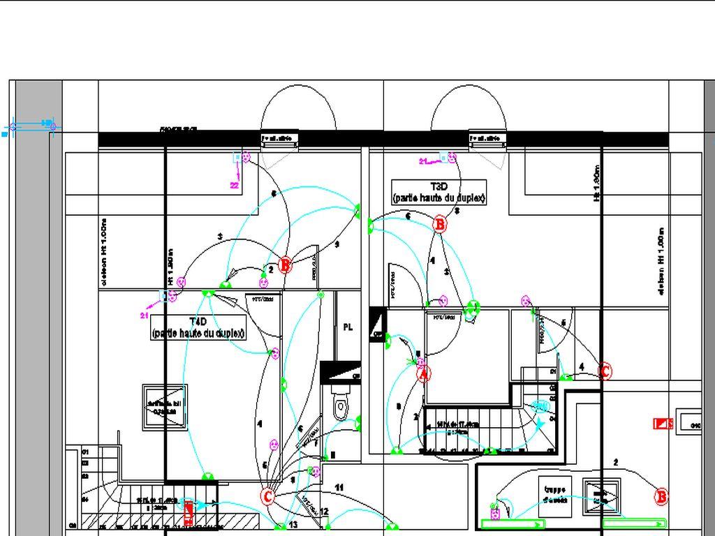 Plan des pieuvres des appartaments en duplex (en remonter) du combles en DALLE BASSE